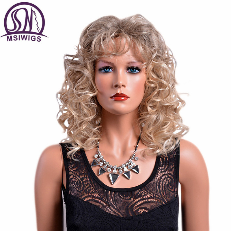MSIWIGS 14 Inches Medium Ombre Curly Wigs With Bangs Mix Color American Afro Synthetic Wig For Women Heat Resistant