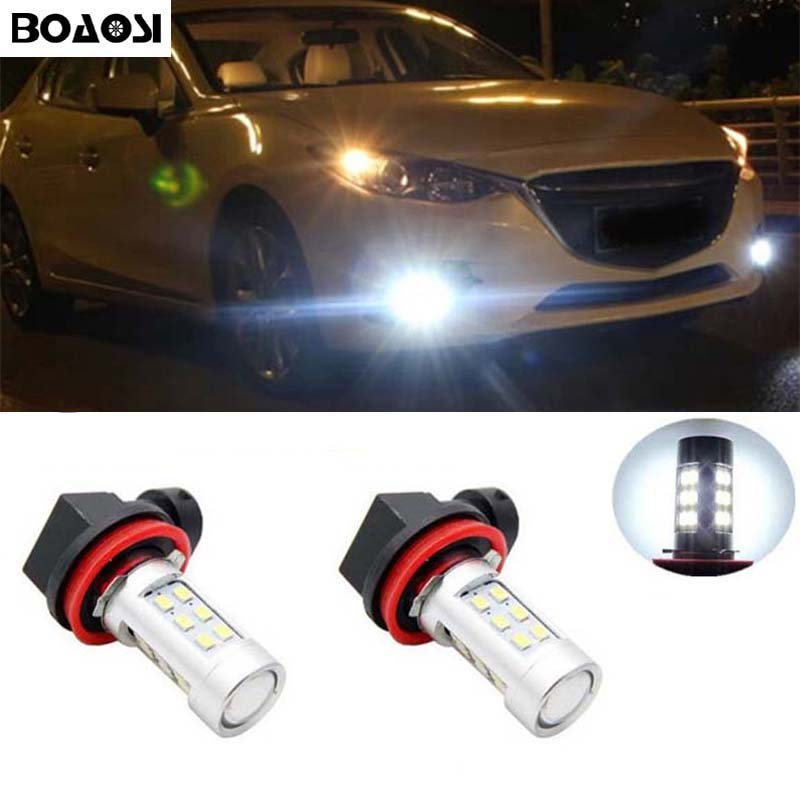 BOAOSI 2x H8 H11 2835SMD <font><b>LED</b></font> Fog DRL <font><b>Light</b></font> Bulb Lamp For <font><b>mazda</b></font> 3 5 <font><b>6</b></font> xc-5 cx-7 axela atenza image