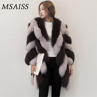 MSAISS Women's Fur Coats Faux Fur Coat Female Artificial Fox Fur Jacket Winter Warm Long Sleeve Overcoat