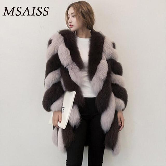 10b2824a4 € 62.62  MSAISS abrigos de piel de mujer abrigo de piel sintética chaqueta  de piel de zorro Artificial para mujer abrigo de manga larga cálido de ...