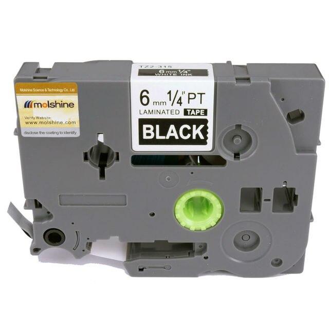 "Molshine 2pcs TZe315 Compatible Label Tape for Brother TZe-315 TZ-315 TZ315 White on Black (0.23'' 1/4"" 6mm) 8m"