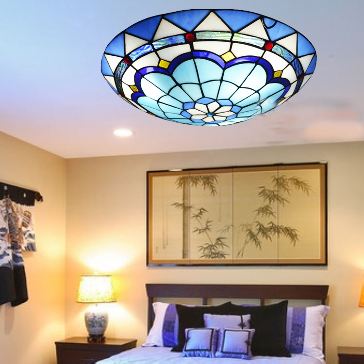 Mediterranean Tiffany Baroque Style Blue Stained Glass Pastoral Round Art LED Ceiling Light for Bedroom Aisle Light Fixture