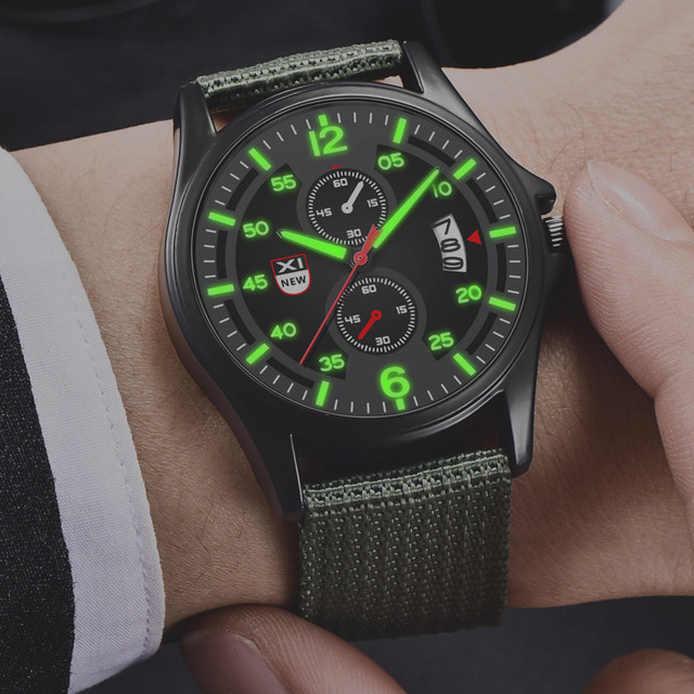 Military Mens Quartz Army Watch Black Dial Date Luxury Sport Wrist Watch Casual nylon strap Luminous watches relogio masculino