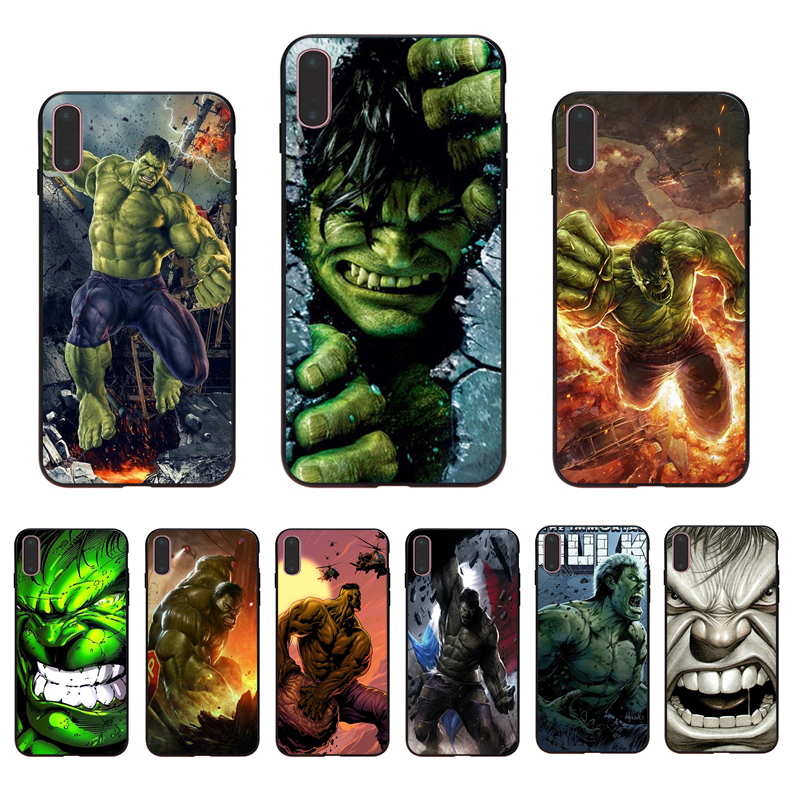 IMIDO Avengers League The Incredible Hulk Marvel Soft phone case for iphone X Xs Xr Xsmax 7 8 6 5 6s/6/7/8plus 5/6S cover shell