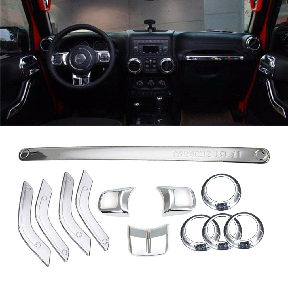 12Pcs Silver ABS Steering Wheel Trim Air Condition Vent Interior Accessories Door Handle Cover Kits For Jeep Wrangler JK 11-15