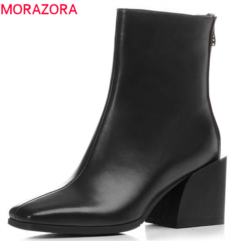 MORAZORA 2018 top quality genuine leather boots women square toe zip autumn winter ankle boots fashion high heels dress shoesMORAZORA 2018 top quality genuine leather boots women square toe zip autumn winter ankle boots fashion high heels dress shoes