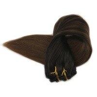 Полный блеск Бразильский Клип В Наращивание волос Ombre Цвет 1B потертостями 4 100 г/упак. 10 шт. 100% человеческих зажим для волос в расширениях