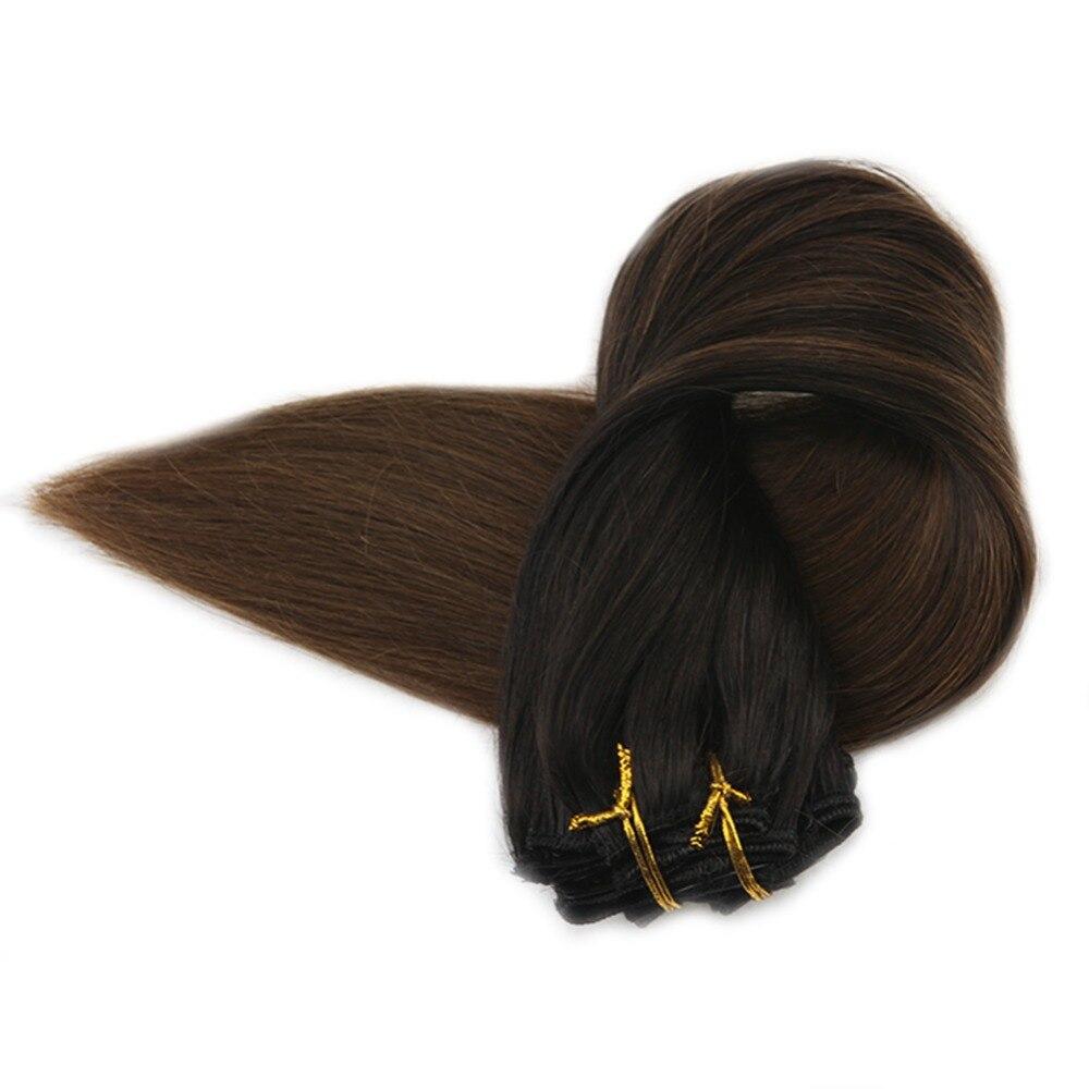 Plein Éclat Brésilienne Clip Dans Les Extensions de Cheveux Ombre Couleur 1B La Décoloration À 4 100 g/pack 10 pcs 100% Remy Humains cheveux Clip Dans Les Extensions
