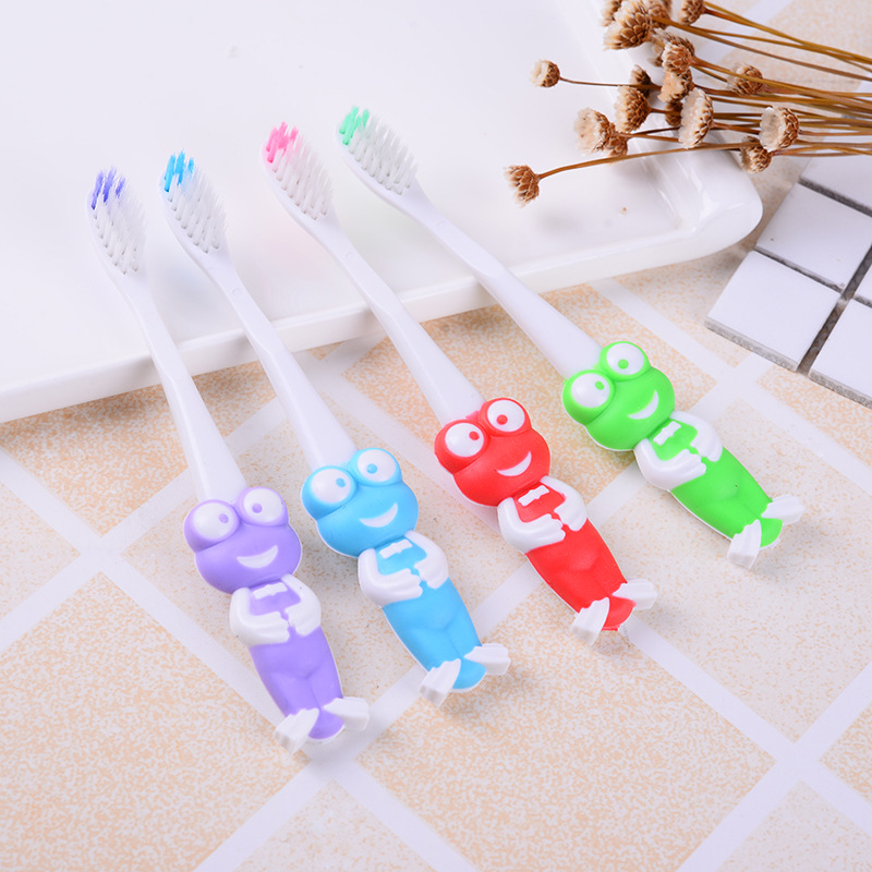 3Pcs Children Cartoon Frog Toothbrush Baby Girls Boys Deciduous Tooth Training Brush Kids Teeth Cleaning Super Soft Baby Device