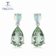 TBJ,natural green amethyst quartz & opal gemstone Dangle Earrings in 925 Sterling Silver Special Jewelry Gift For Women wife mom