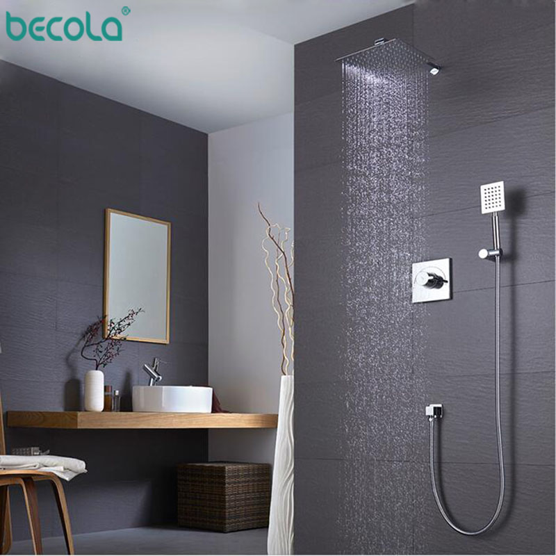 BECOLA Shower Faucets Chrome Silver Wall Mount Bathroom Faucet Set Rainfall Square Big Shower Head Handheld Valve Bath Mixer T фонокорректоры audio valve sunilda silver chrome