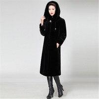 M 5XL Black hooded fur collar faux fur women's jacket long section imitation mink coat high and low velvet plus long coat