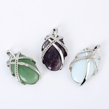 New 1pc Chic Natural Stone Amethysts Opal Green Aventurine Quartz Oval Bead Pendant for Women necklace Choker Jewelry(China)