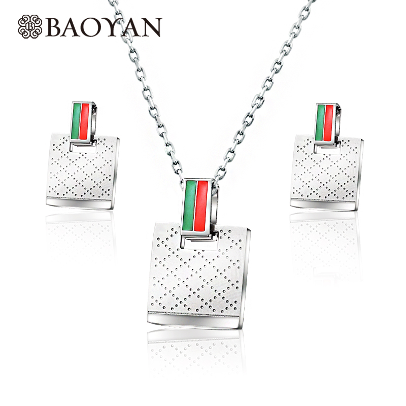 Baoyan Costume Stainless Steel Jewelry Sets Wholesale Silver Color Square Pattern Fashion Brand Jewelry Sets For Women Jewellery