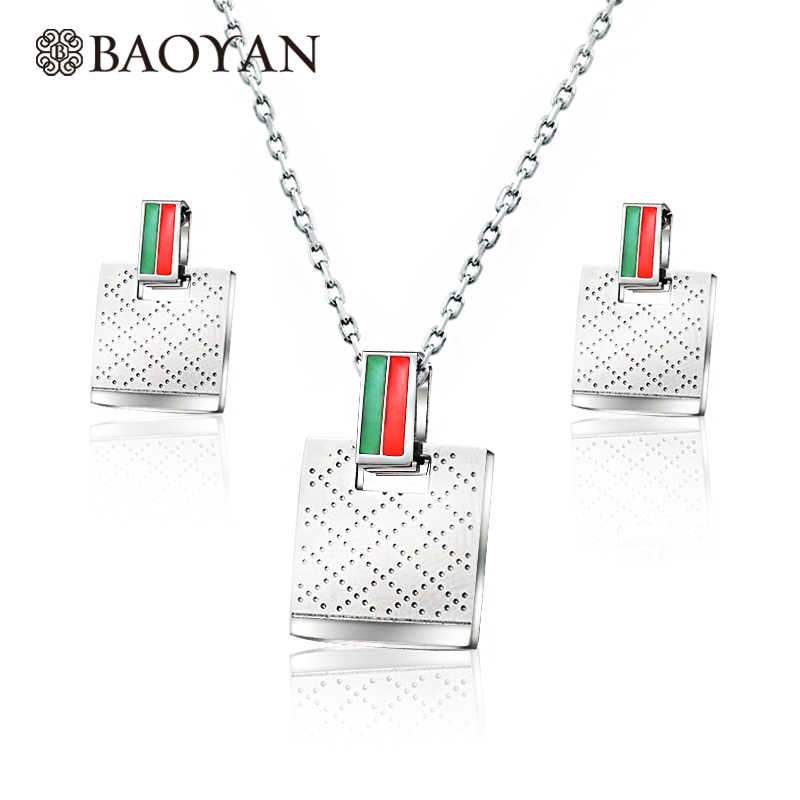 Baoyan 316L Stainless Steel Silver Color Girl Square Necklace with Earring Jewelry Sets for Women Wholesale Mixed Lots N0