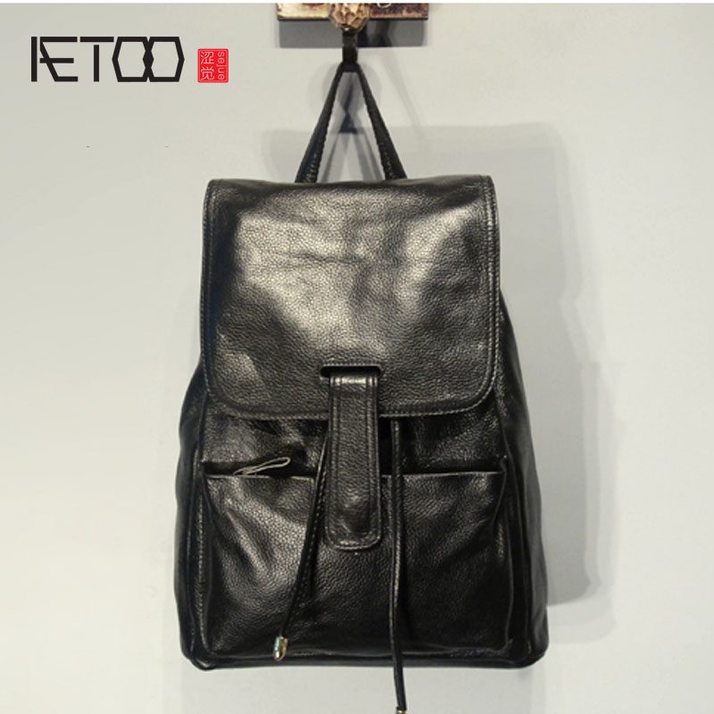 AETOO  Men and women leather shoulder bag head layer of leather casual backpack large capacity dual school bag aetoo leather men bag wild european and american first layer of leather men s shoulder bag trend backpack