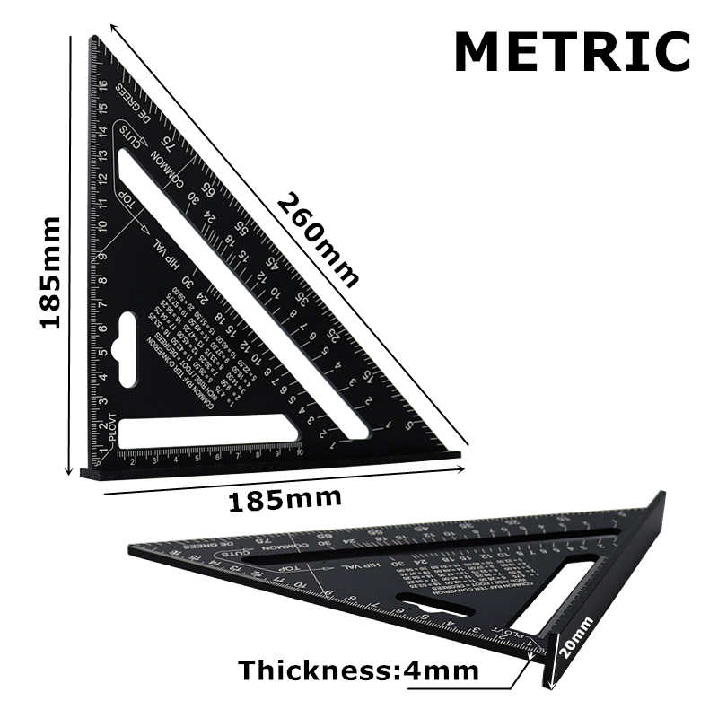 Règle de mesure carrée de vitesse d'onglet de rapporteur d'angle de règle de Triangle d'alliage d'aluminium de 7 ''pour la construction encadrant des outils de travail du bois