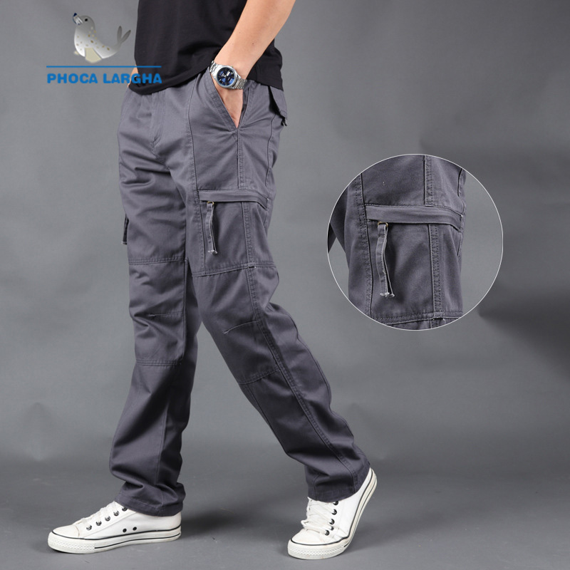 Men's Cargo Pants Casual Multi Pockets Military Tactical Pant Men Outwear Solid Color Army Straight Slacks Long Trousers Clothes