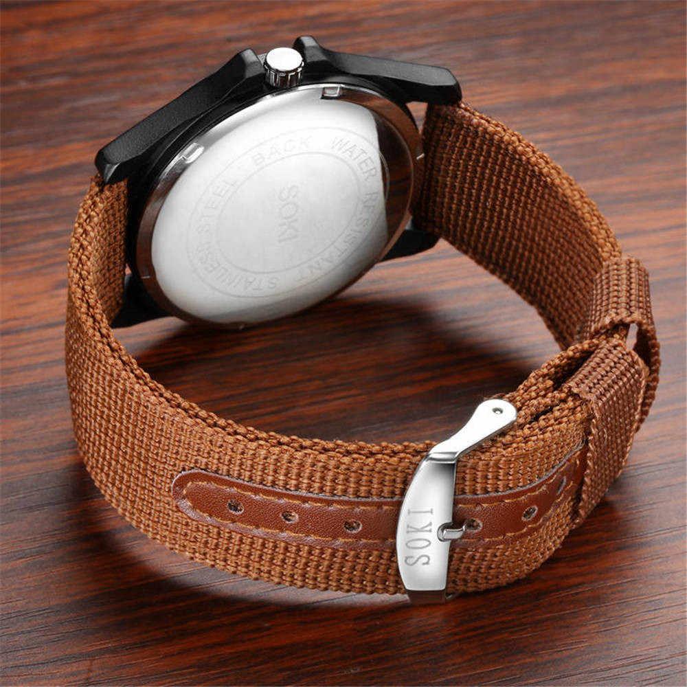 Reloj de pulsera redondo de cuarzo analógico con correa de nailon a la moda para parejas