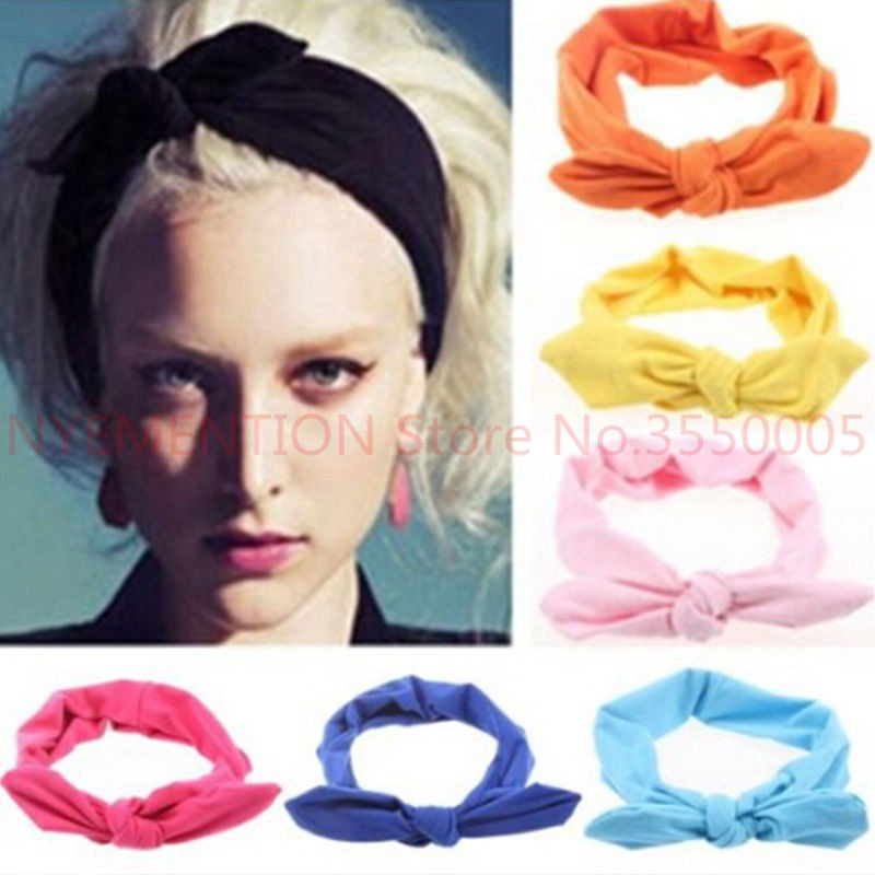 Apparel Accessories 200 Pcs/lot Women Elastic Rabbit Bow Style Hair Band Headband Top Knot Turban Head Bands Hairbands Headwear Ornament Accessories An Indispensable Sovereign Remedy For Home