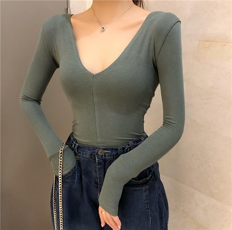 New Girls Sheath Deep V-neck Slim Full Sleeve Sexy   T     shirts   Tops Ladies Solid Tees   Shirts   For Women