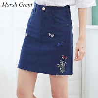 Marsh Grent Fashion 2017 Women Black Blue Skirts Summer Flower Embroidery Denim Female Brand Designer Slim