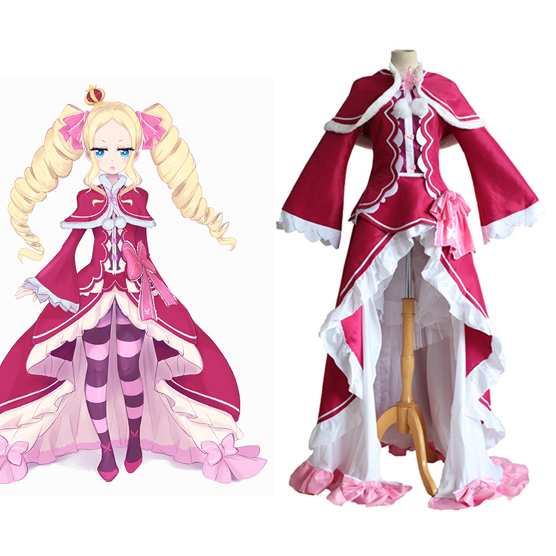 Japanese Anime Re:Life in a different world from zero Opportunitydoor Beatrix Cosplay Costume Lolita Dress Full set+Socks