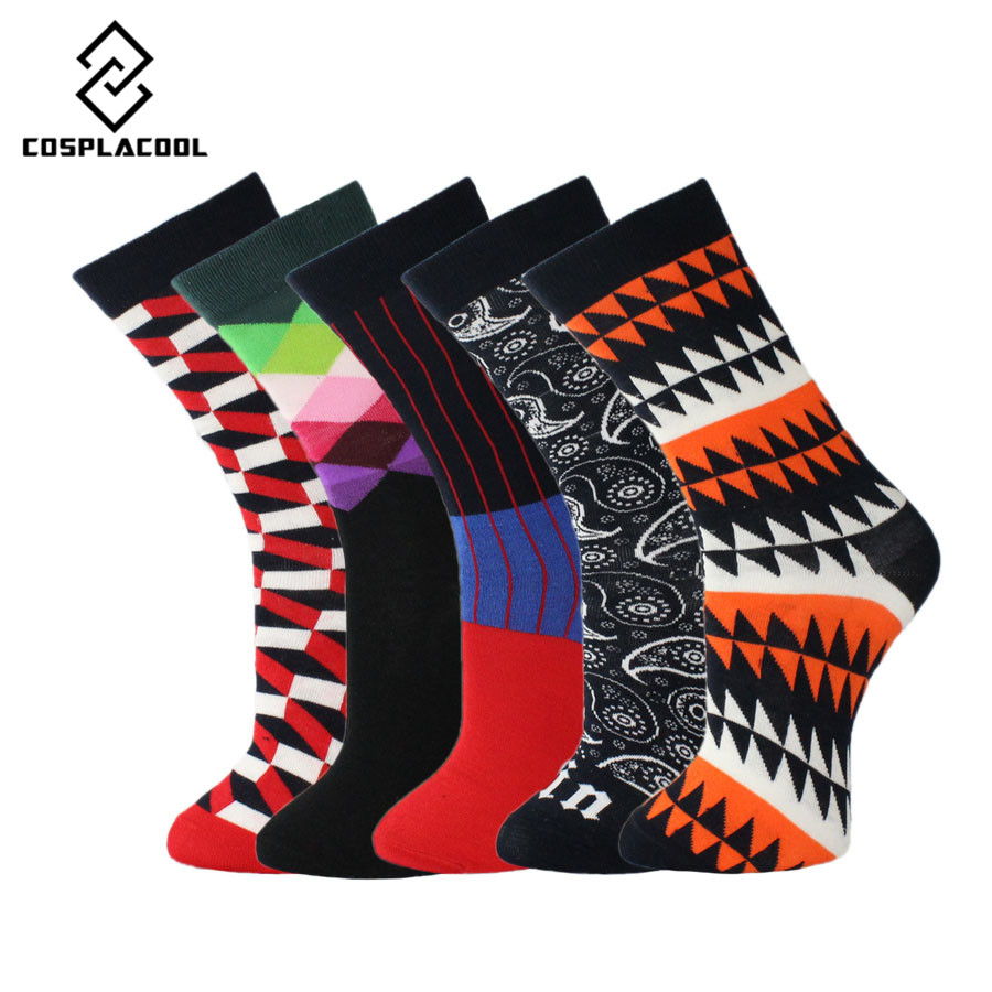 [COSPLACOOL]5 Pairs/lot Socks Men New Brand High Quality Cotton Fashion Meias Knee High Dress Business Calcetines