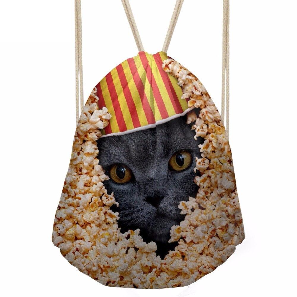 Funny 3D Animal Popcorn Cat Husky Printing Girls Boys Drawstrings Bags Casual Bookbags Softback Children BackpacksSumka