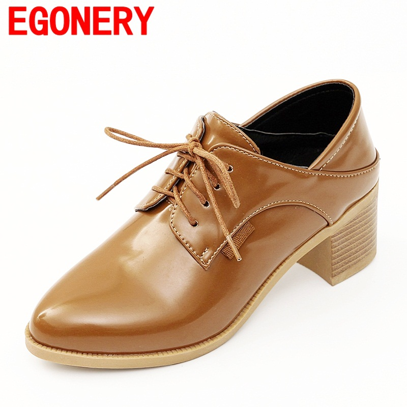 EGONERY casual shoes women good quality high heels ladies round toe lace up spring new style women pumps thick heel leisure shoe xiaying smile woman pumps shoes women spring autumn wedges heels british style classics round toe lace up thick sole women shoes