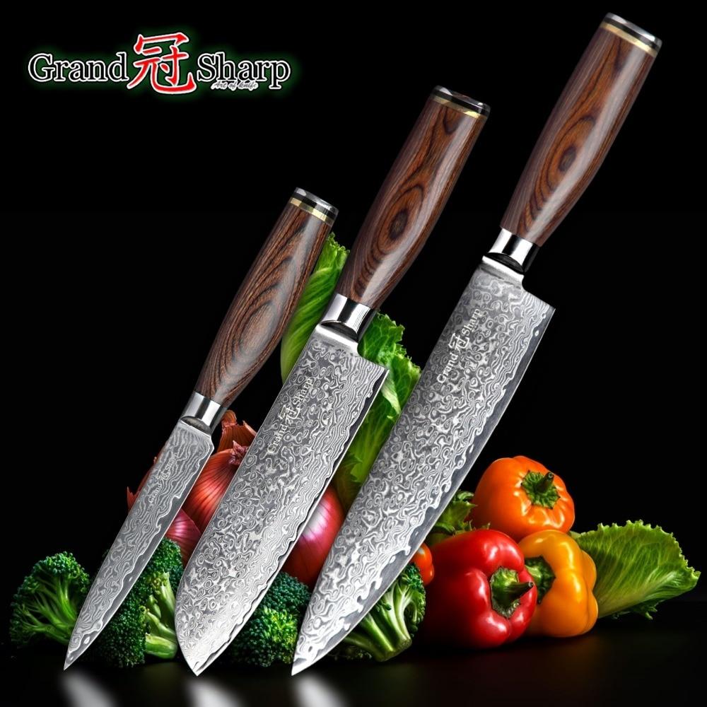 GRANDSHARP 3pcs Damascus Knife Set 67 Layers Japanese Damascus Steel vg10 Chef Santoku Utility Kitchen Knives