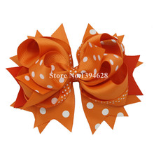 2016 NEW Stacked Boutique Bows With 6cm Hair Clip,Yellow With Polka Dot Girl Bows,Grosgrain Ribbon Bows, Hair Accessories