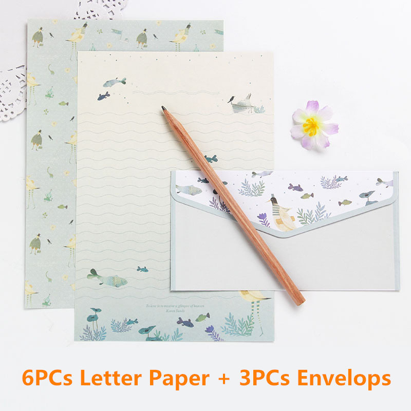 Coloffice 6PCs Letter Paper+3PC Envelope Creative Stationery Letterhead Beautiful Floral Gift Envelope Cute Cartoon Set Supplies