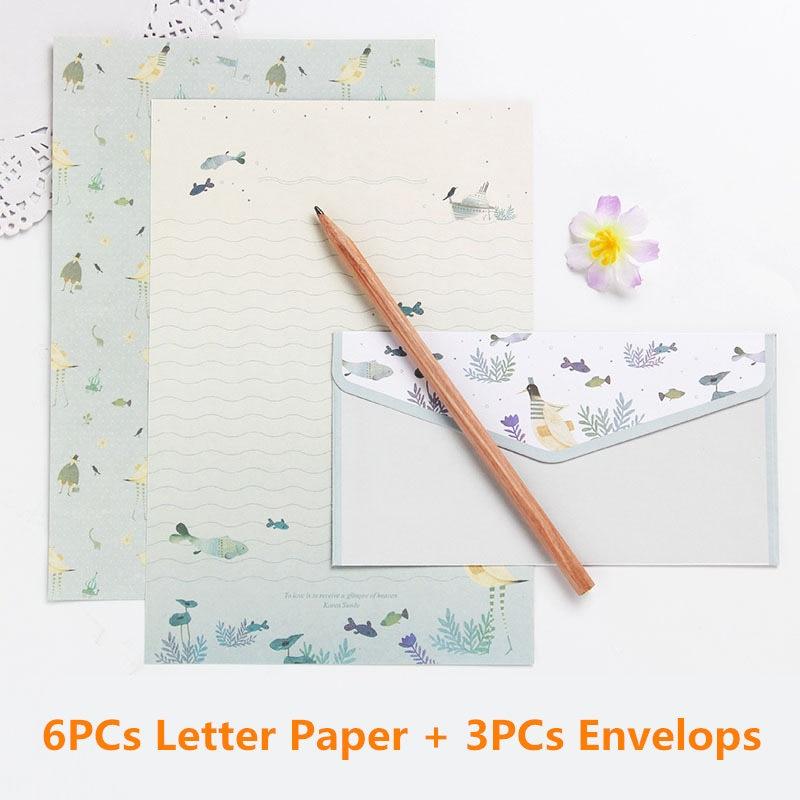 Coloffice 6PCs Letter Paper+3PC Envelope Creative Stationery Letterhead Beautiful Floral Gift Envelope Cute Cartoon Set Supplies