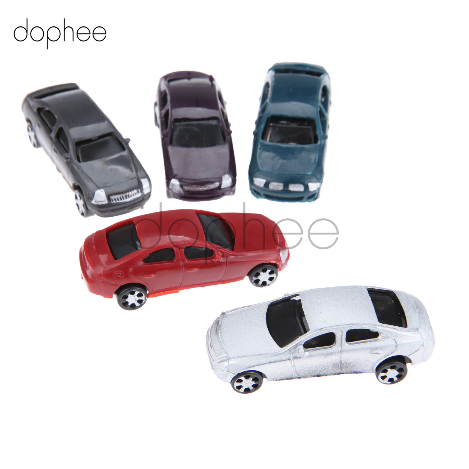 dophee 10pcs/lot Painted Model Cars Building Train Layout Scale HO 1:100 Model Building Toy Kits