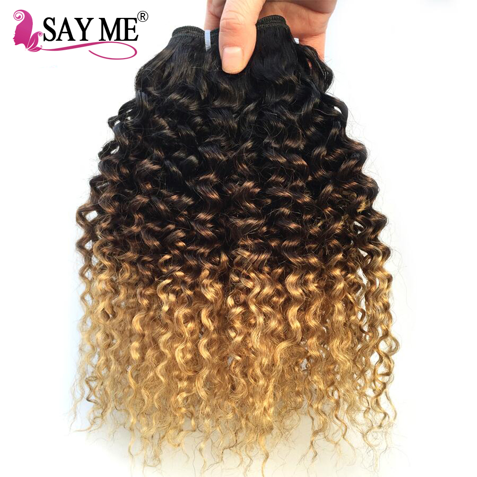 Mongolian Kinky Curly Hair Bundles Honey blonde Ombre Human Hair Bundles 1 3 4 Bundles 1B