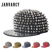 Janvancy Hip Hop Hat Men Woman Unisex Steampunk Rivet Luxury Baseball Cap Women Vintage Fashion Style