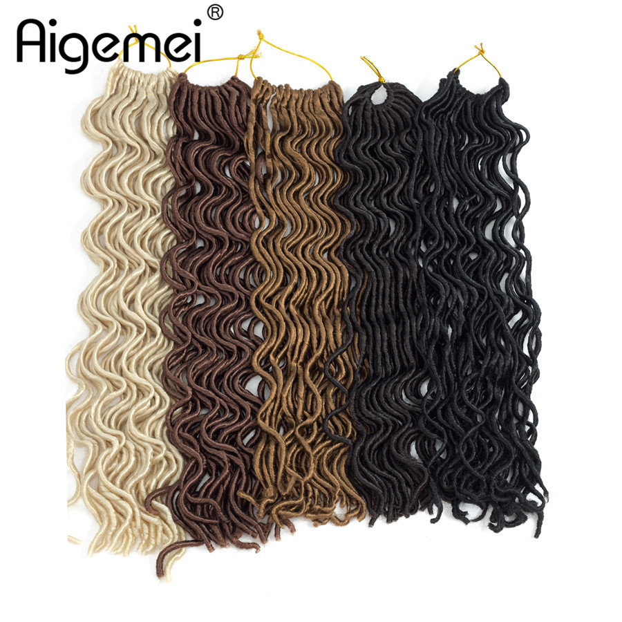 Aigemei 18 Inch 100g 24 Roots Faux Locs Curly Crochet Hair Synthetic Braid Extensions