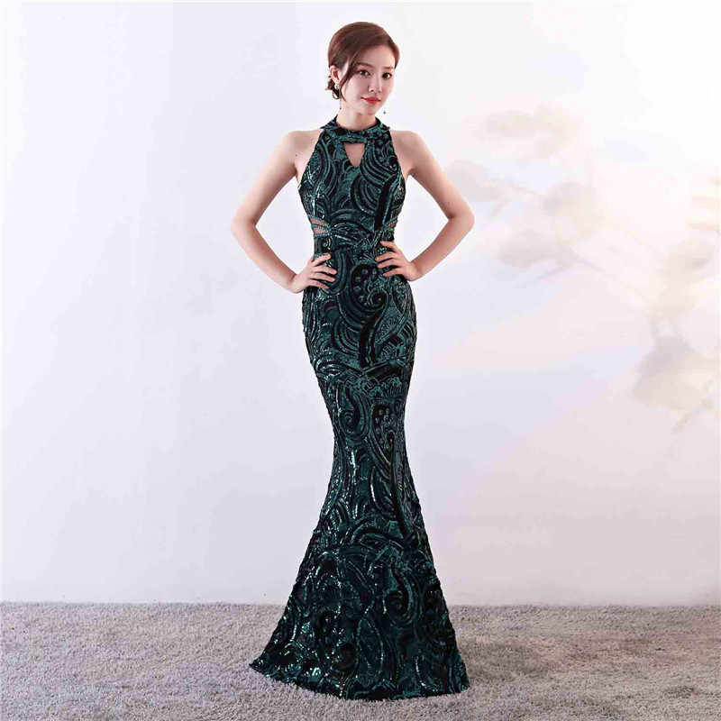 ec0cf9ad3c Green Paisley Sequined Halter Tank Floor Length Mermaid Formal Night ...
