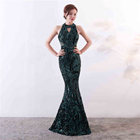 Green Paisley Sequined Halter Tank Sleeveless Long Mermaid Luxury Women Dress Elegant Formal Party Gowns Sexy Nightclub Dresses
