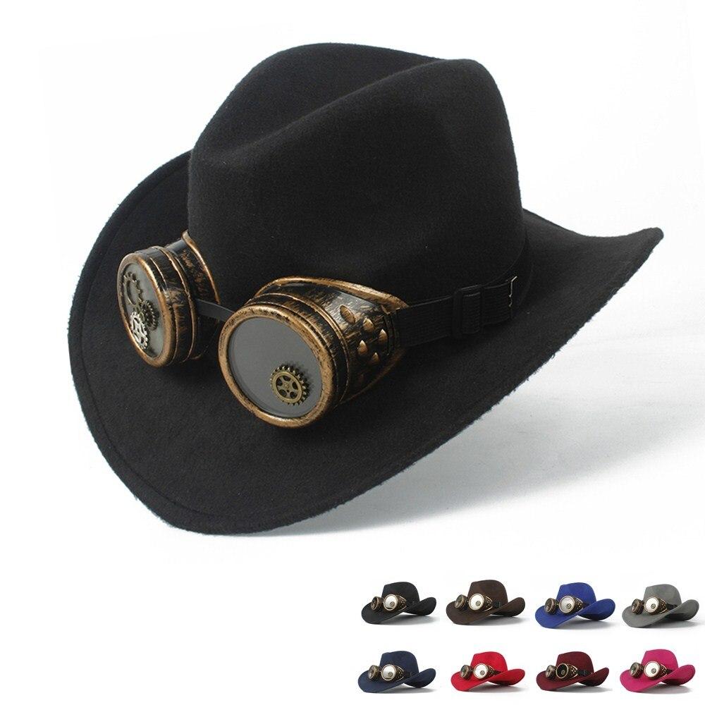 2019 Steampunk Cowboy Hut Für Frauen Männer Wolle Hohl Western Outblack Sombrero Hombre Jazz Kappe Größe 56-58 Unterscheidungskraft FüR Seine Traditionellen Eigenschaften