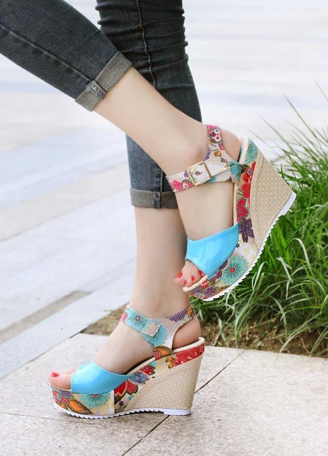 HTB1Xjg5Xr3nBKNjSZFMq6yUSFXaq 2019 Women Sandals Summer Platform Wedges Casual Shoes Woman Floral Super High Heels Open Toe Slippers Sandalias Zapatos Mujer