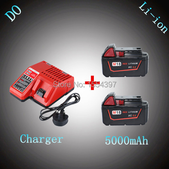 2PCS M18 5000mAh Power Tool Rechargeable Lithium Ion Battery with Charger Replacement for Milwaukee 18V XC 48-11-1828 M18B Li18 high quality power tool lithium battery charger replacement for milwaukee 14 4v 18v