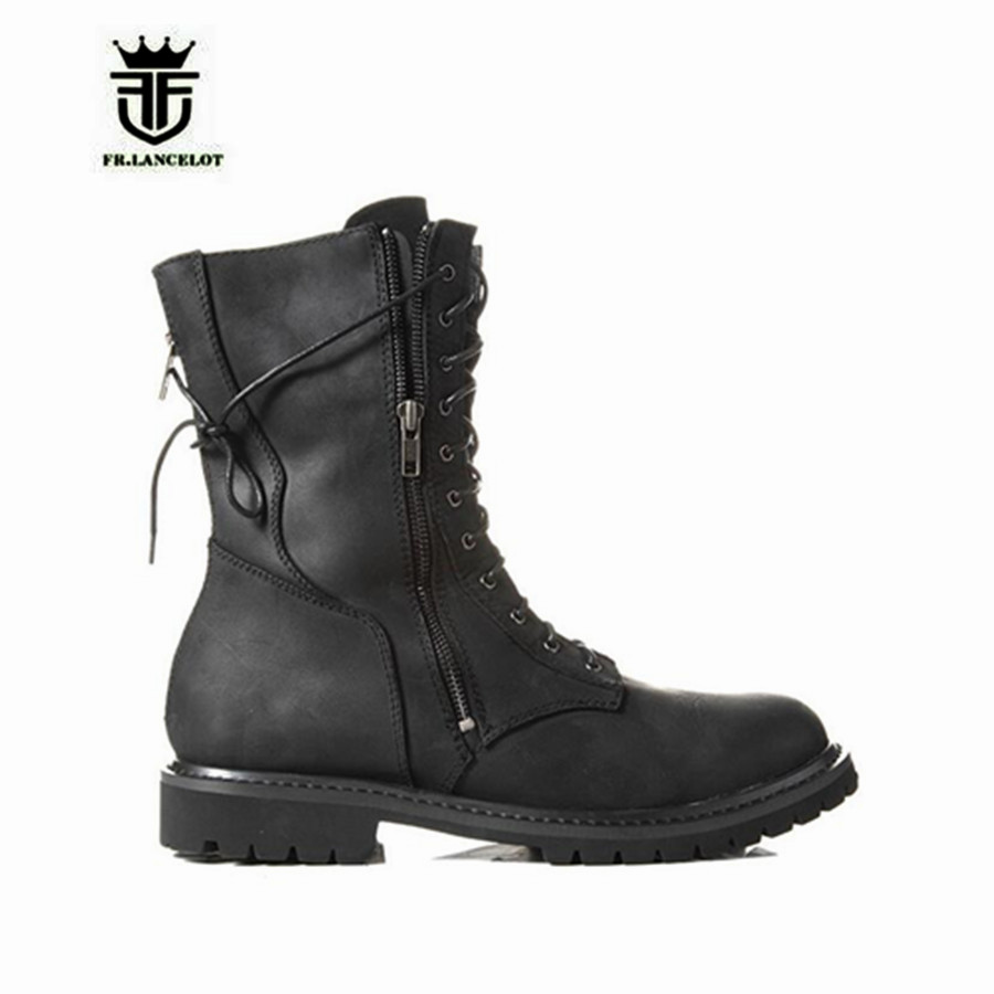 NEW Handmade MID Cowboy Western Denim Boot Genuine Leather Lacing Zipper Men Military Motor Boots keen men s briggs mid wp chukka boot