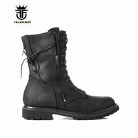 NEW Handmade MID Cowboy Western Denim Boot Genuine Leather Lacing Zipper Men Military Motor Boots