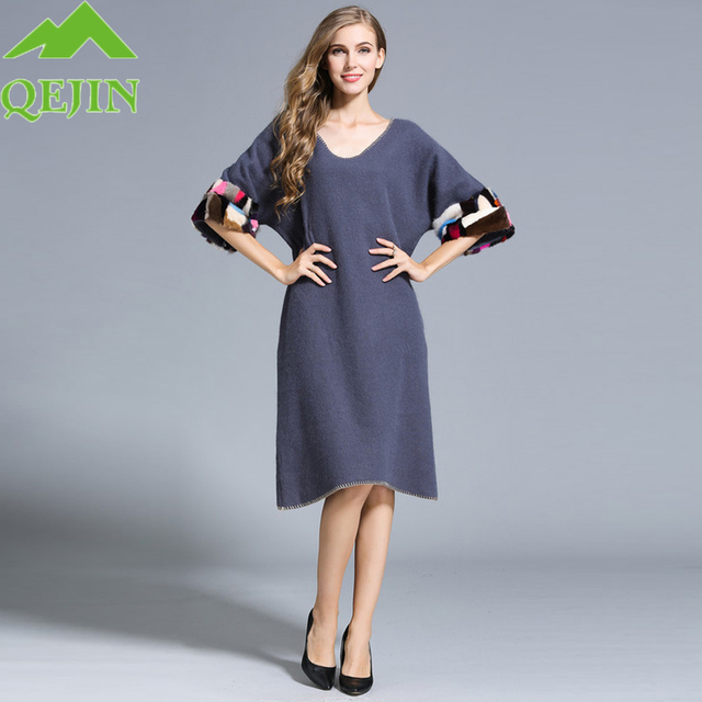 6d7774fdb8 Vestido da caxemira das mulheres inverno vestido de lã Grossa quente Mid- longo solto Half