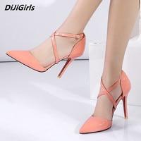 Size 34 43 Summer Ladies Pumps Women Heels Pointed Toe Cross tie High Heels Pumps Womans Yellow Shoes Nightclub Stilettos Heels