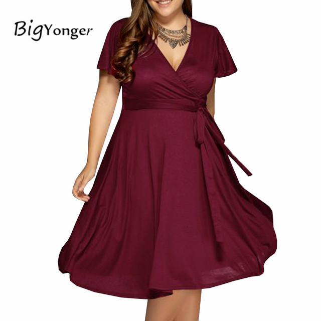 Summer dress 2017 maxi vestidos vermelhos 4 cores disponíveis v pescoço mulheres vestidos plus size 6l 6xl mulheres dress com cinto de longo