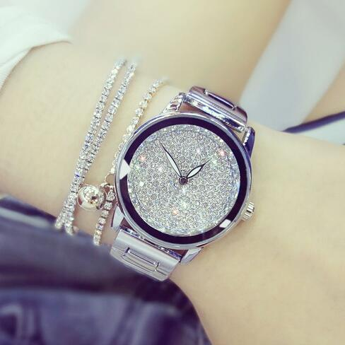 2019 Luxury Women Watches Austrian crystal Lady Dress Watch Stainless Steel Rhinestone Silver Gold Bracelet diamond Wristwatches