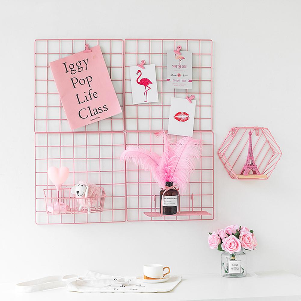 35x35cm Ins Style Metal Grid Wall Photos Grids Postcards Mesh Frame Home Bedroom DIY Decoration Iron Square Decorative Shelf 1PC